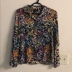 FoxCroft fitted fit colorful blouse - 10 petite